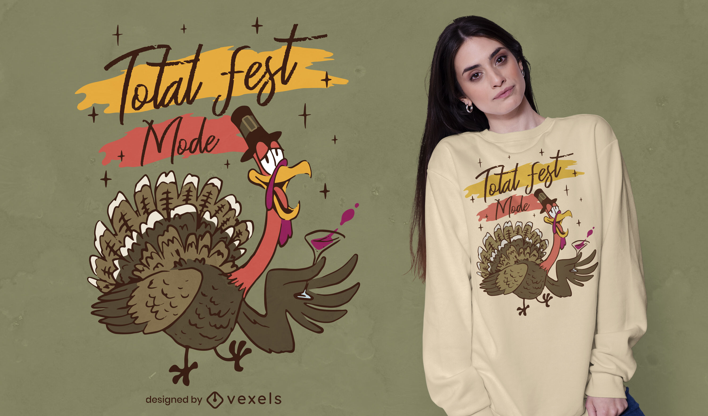 T-Shirt mit betrunkenem Truthahn zum Erntedankfest