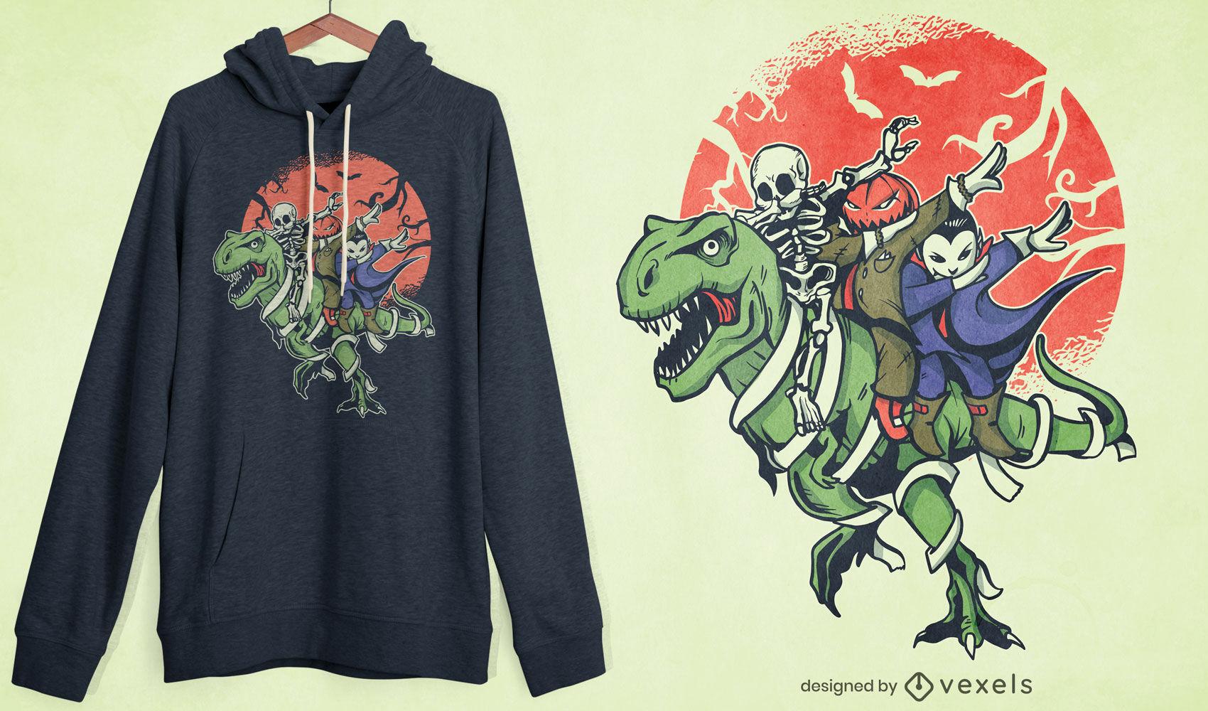 Desenho de camisetas com personagens de halloween
