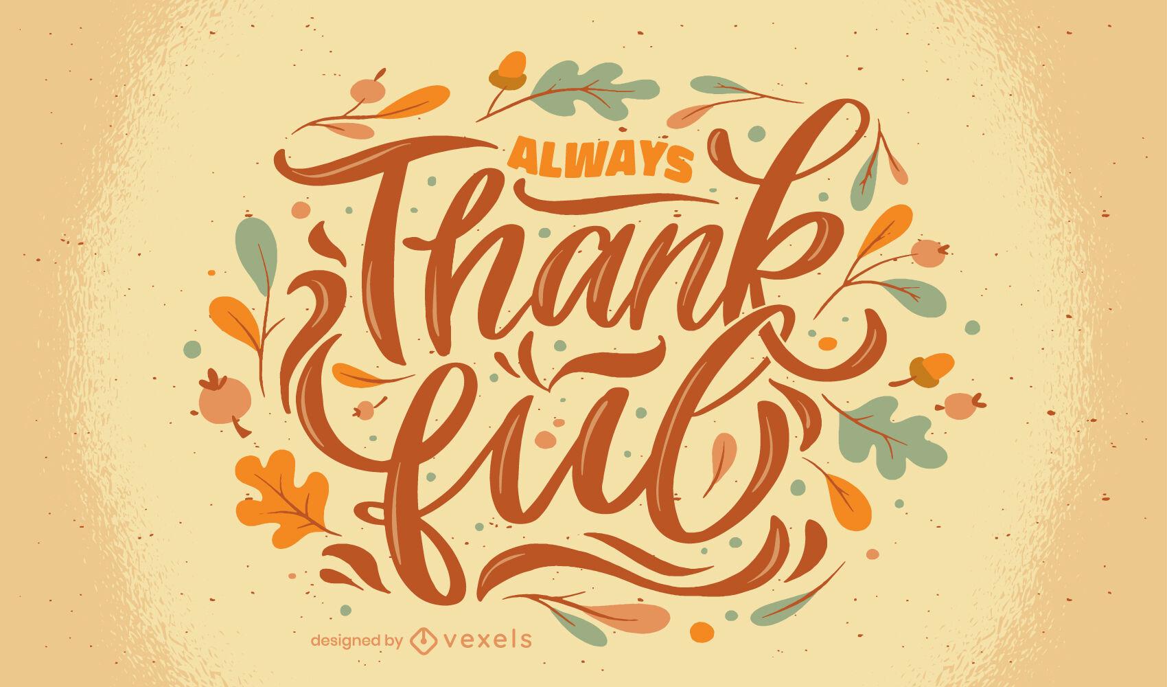 Letras de agradecimiento de vacaciones de acción de gracias