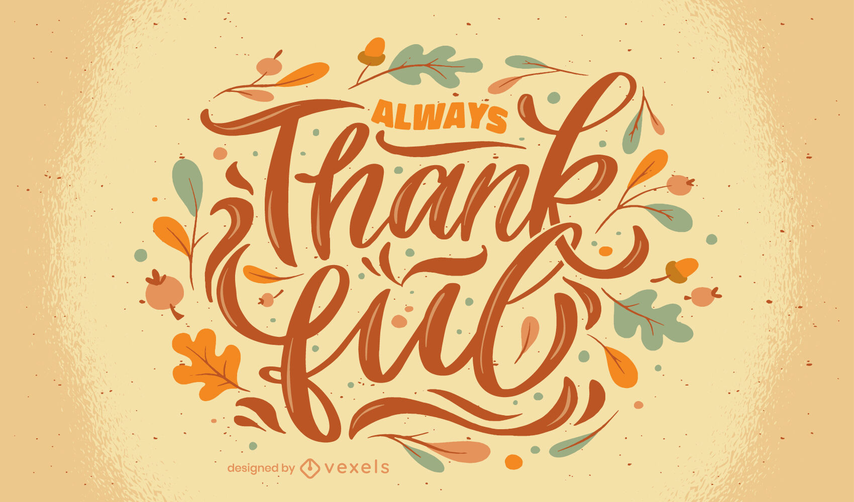 Thanksgiving holiday thankful lettering