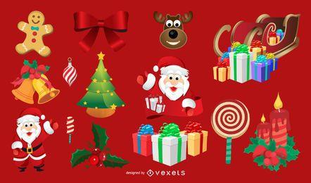 Elementos de arte de vetor de Natal