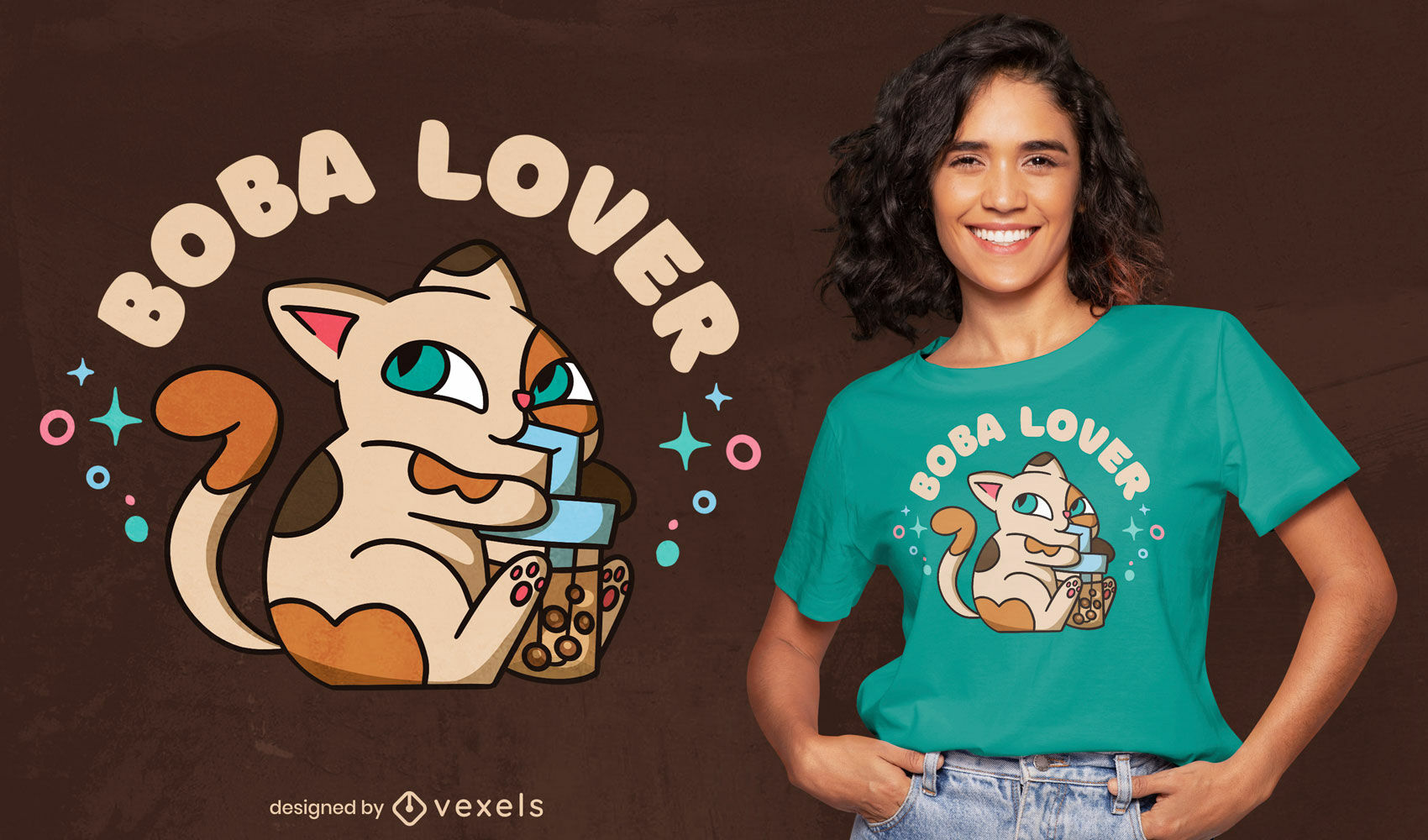 Diseño de camiseta de gato bebiendo té boba.