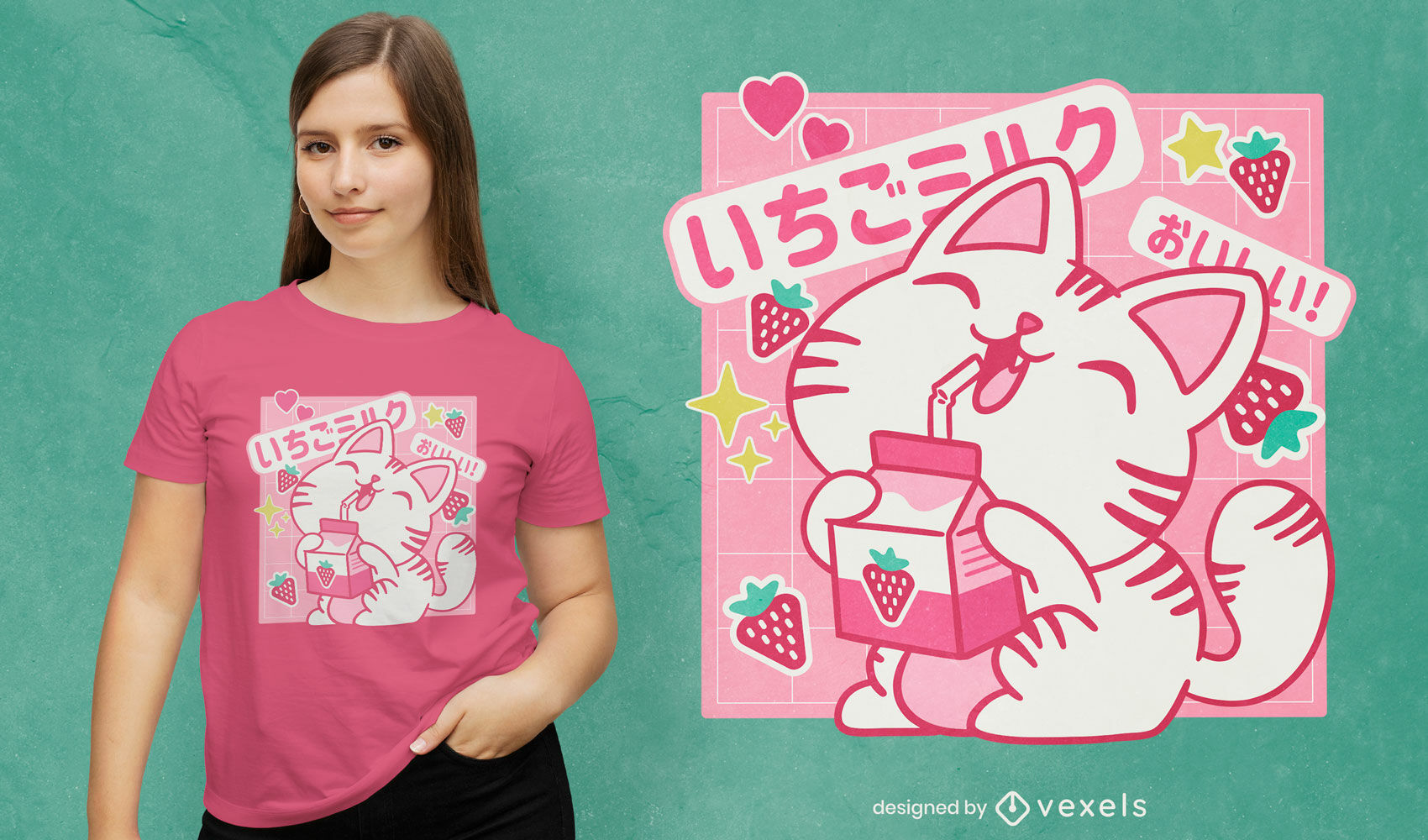 Design de camiseta de gato japonês com leite de morango