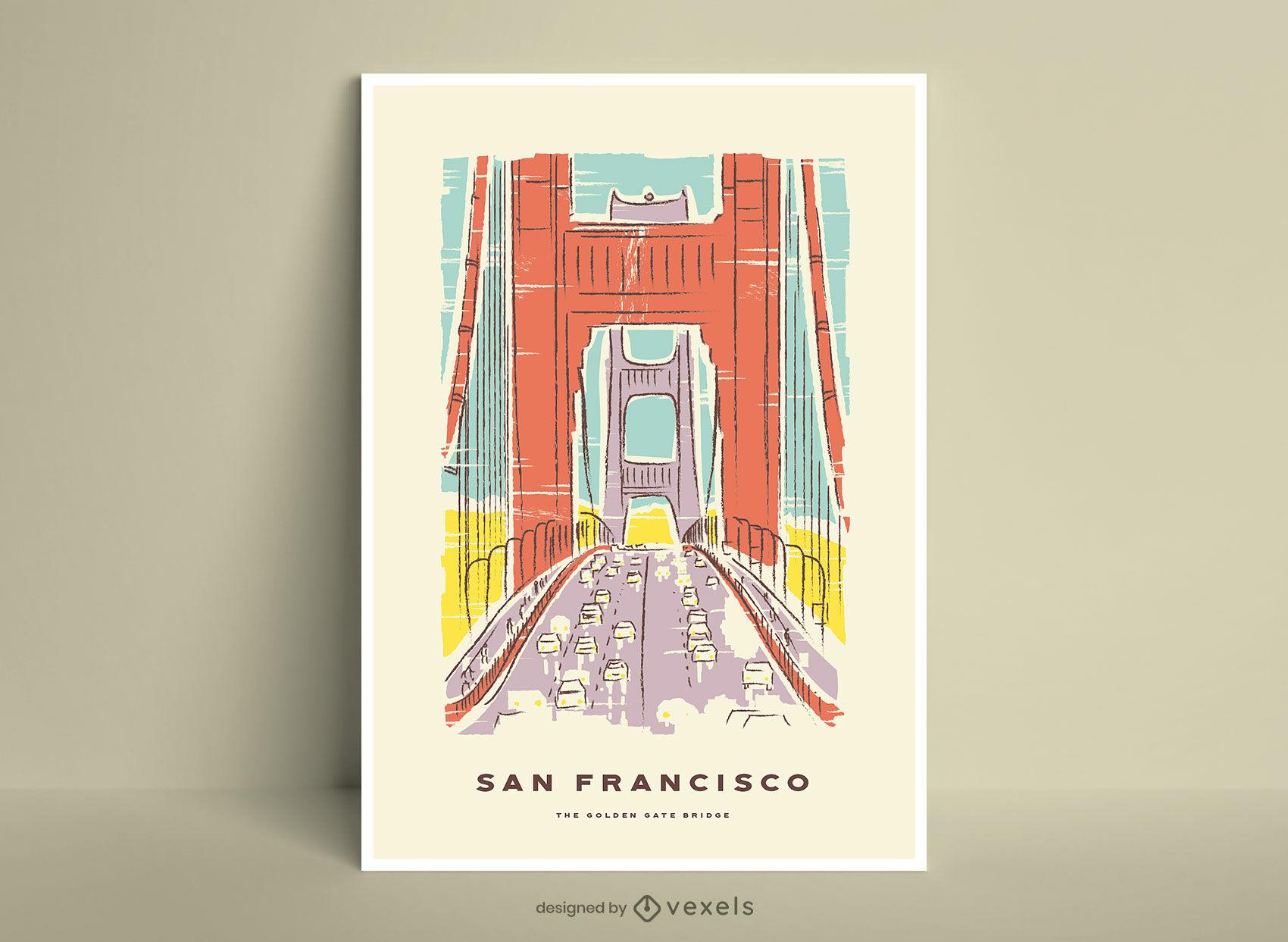 Pôster da ponte Golden Gate em São Francisco