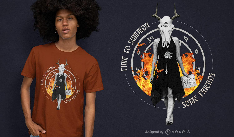Camiseta da bruxa satânica do feriado do Dia das Bruxas psd