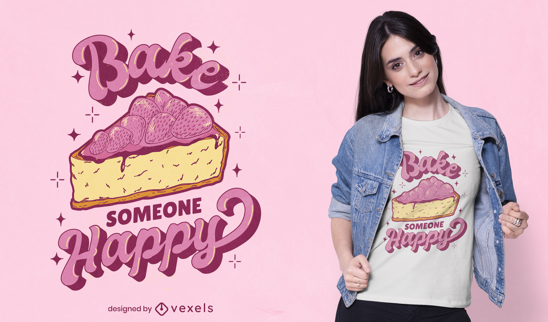 Strawberry cake slice t-shirt design