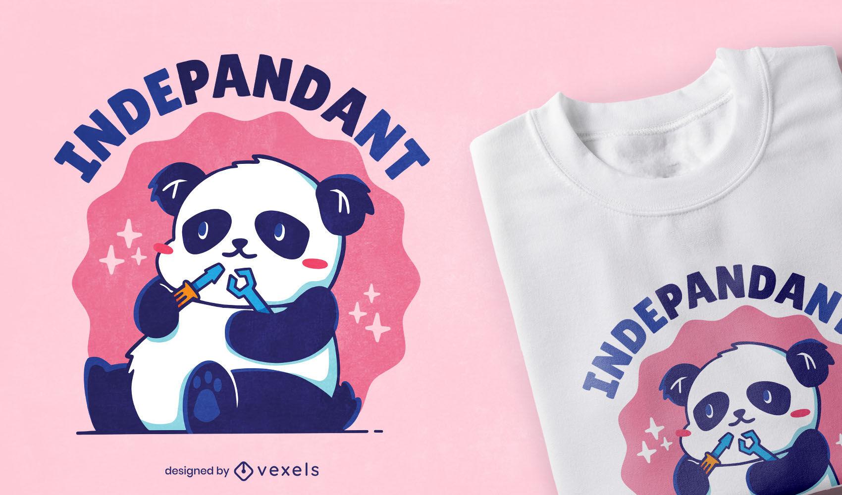 Urso panda fofo brincando de design de camiseta