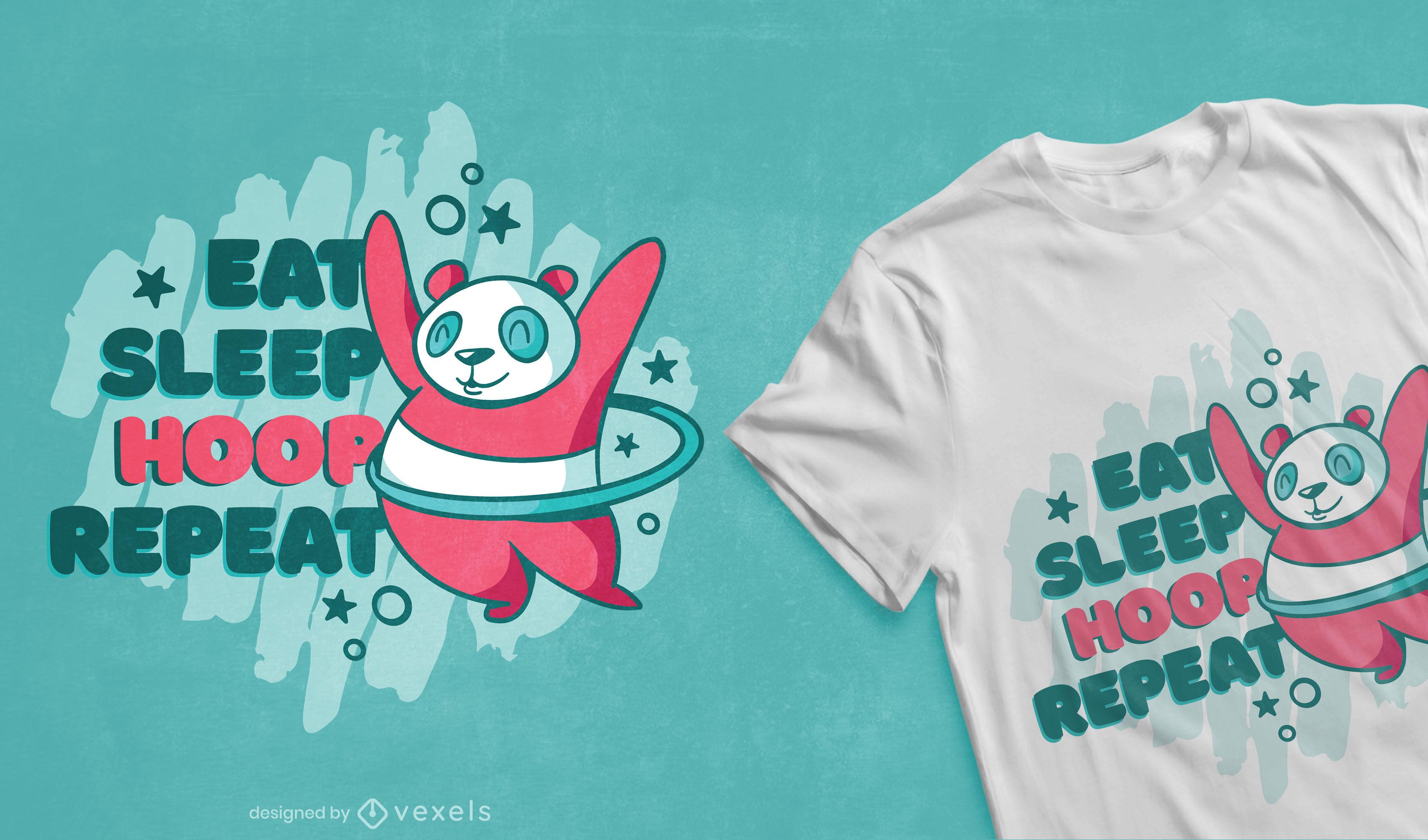 Urso panda hula hooping com design de camiseta fofa