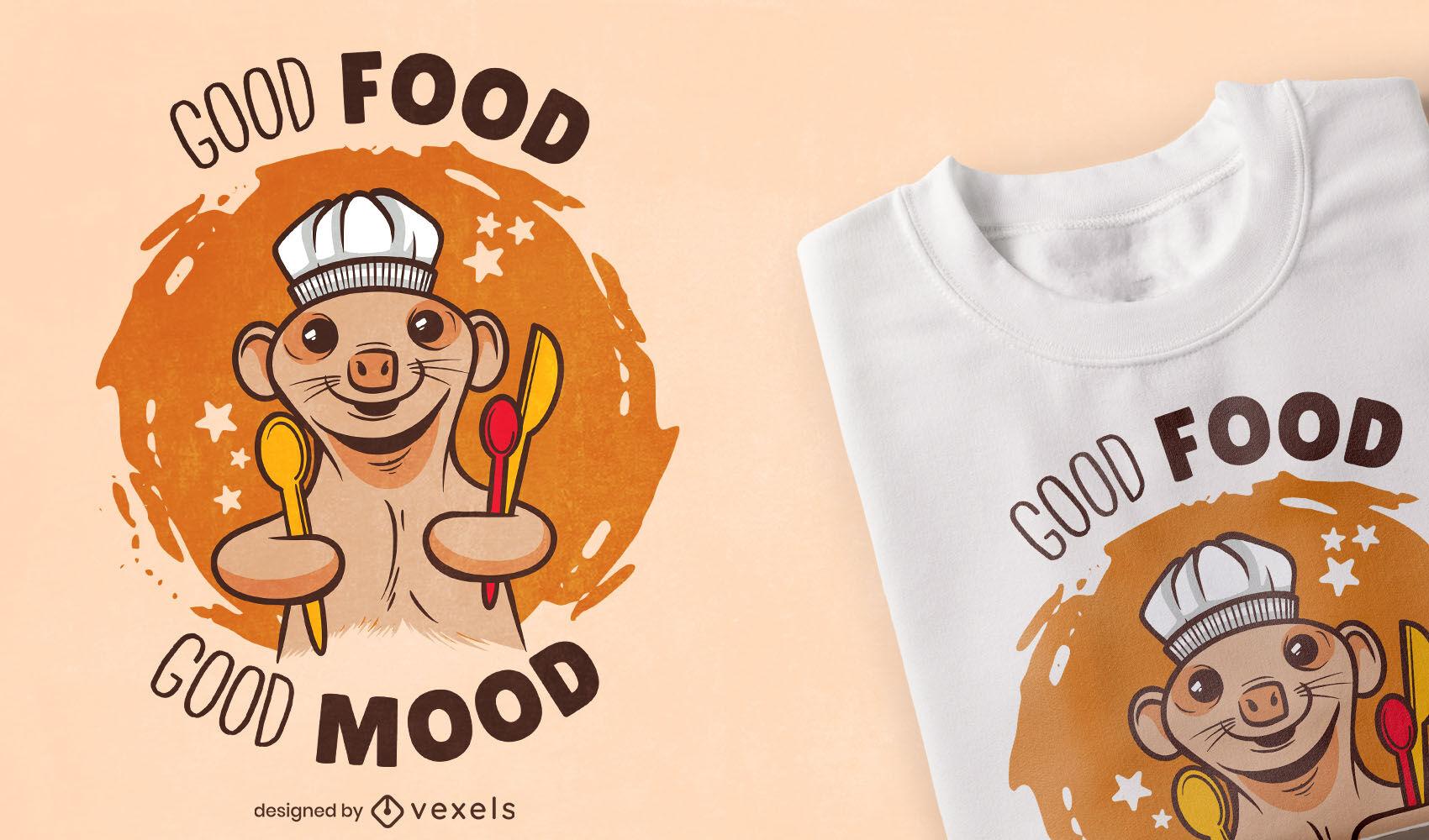 Meerkat animal chef cooking t-shirt design
