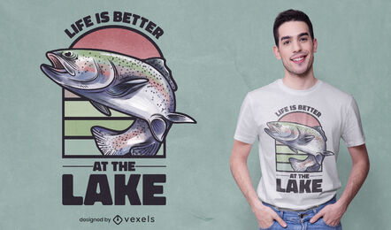 Fish sea animal jumping t-shirt design