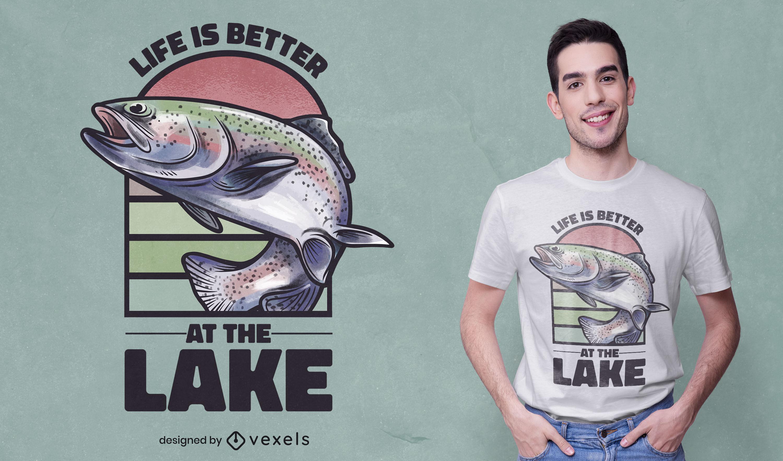 Diseño de camiseta de salto de animales marinos de peces.