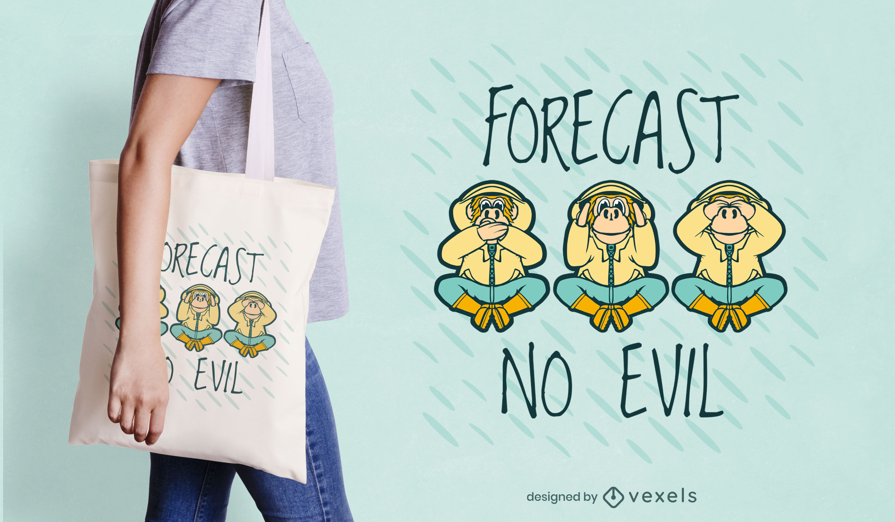 Design de sacola de desenho animado de três macacos sábios