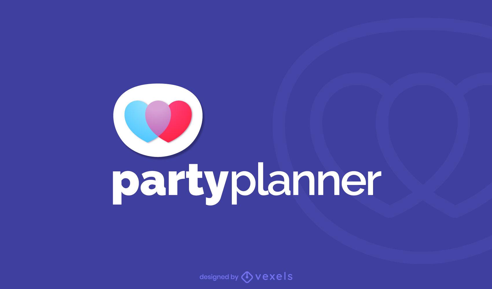Planificador de fiestas corazones logo degradado