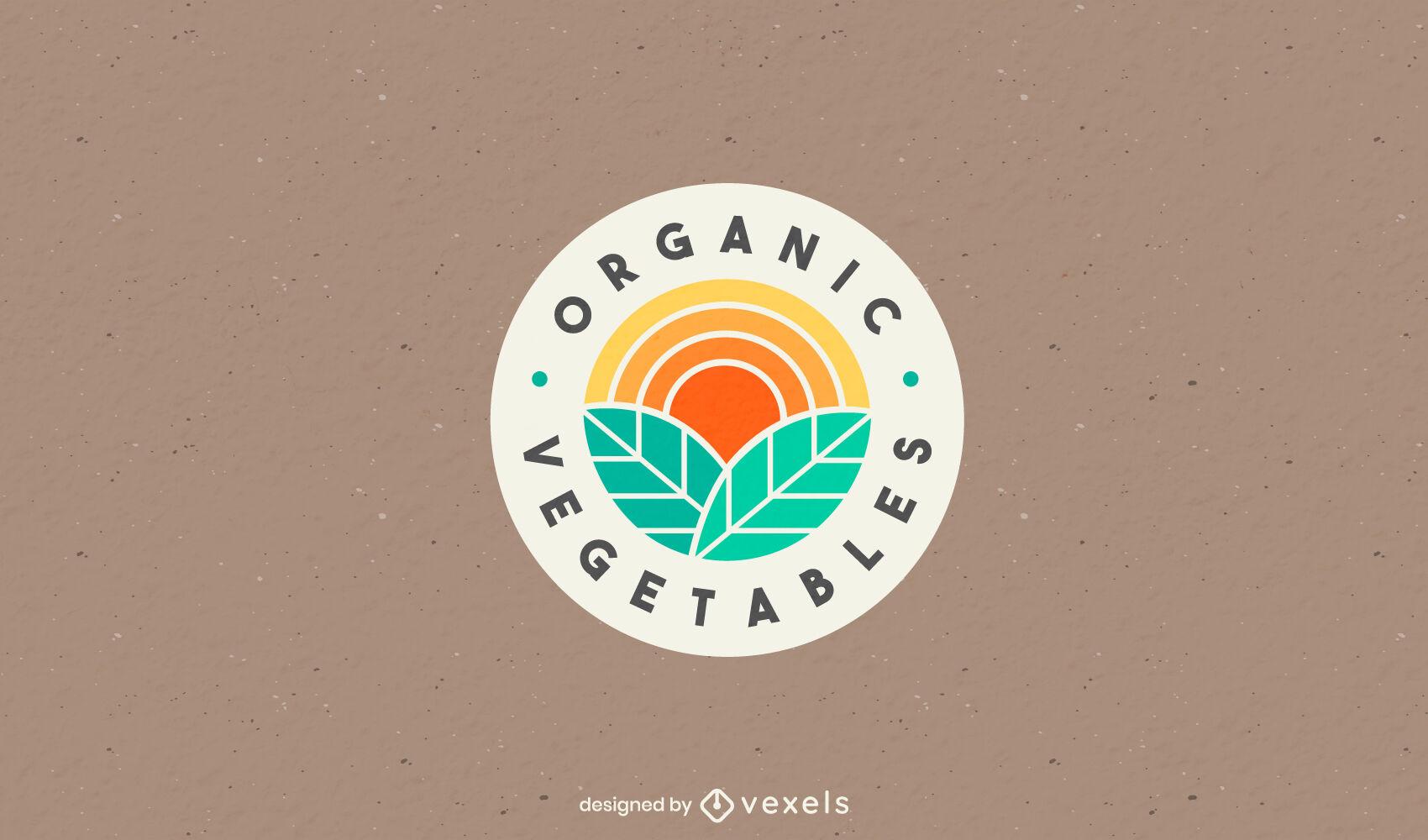 Logotipo de corte de color de hojas orgánicas