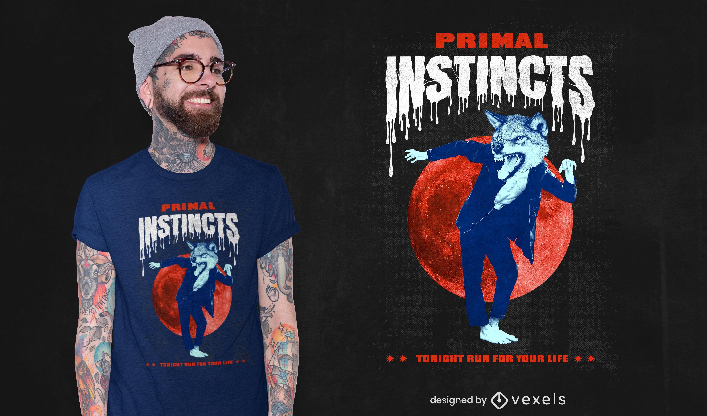 Halloween werewolf monster t-shirt psd