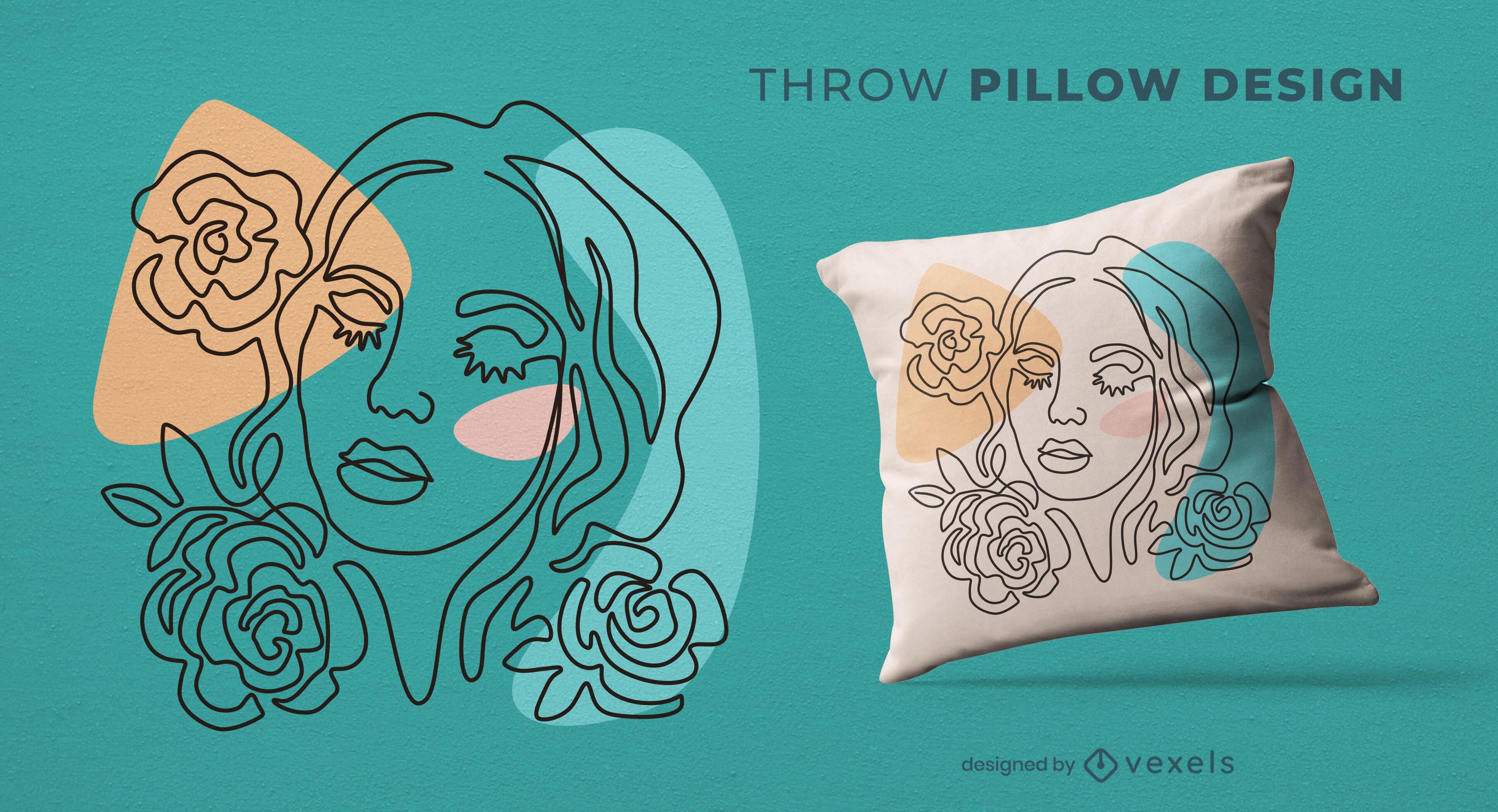 Diseño de almohada de tiro de mujer y flores color de rosa