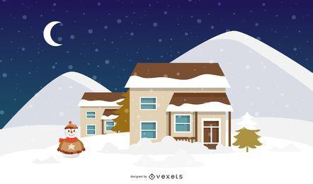 Ilustración de casa de Navidad de invierno