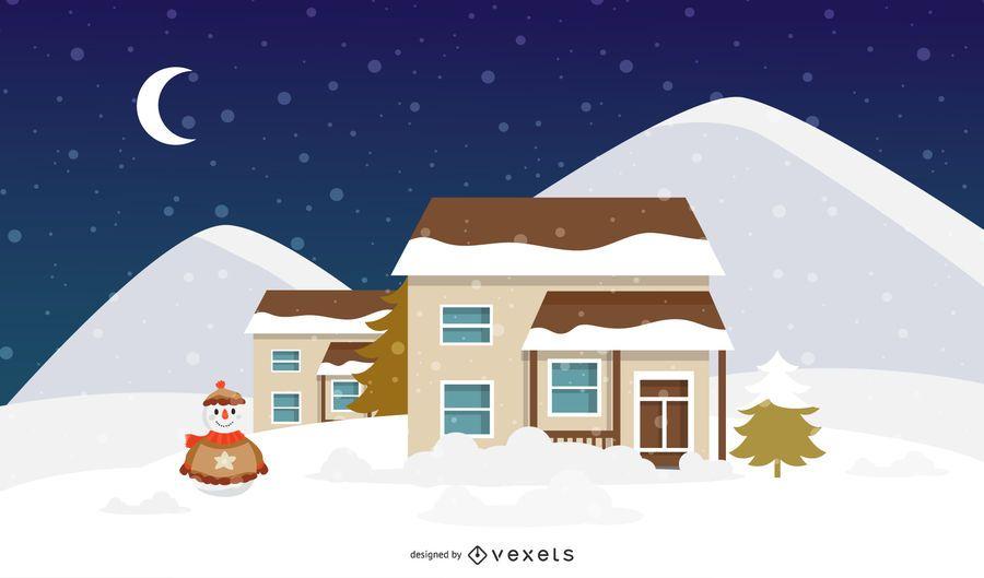 Winter Christmas Home Illustration