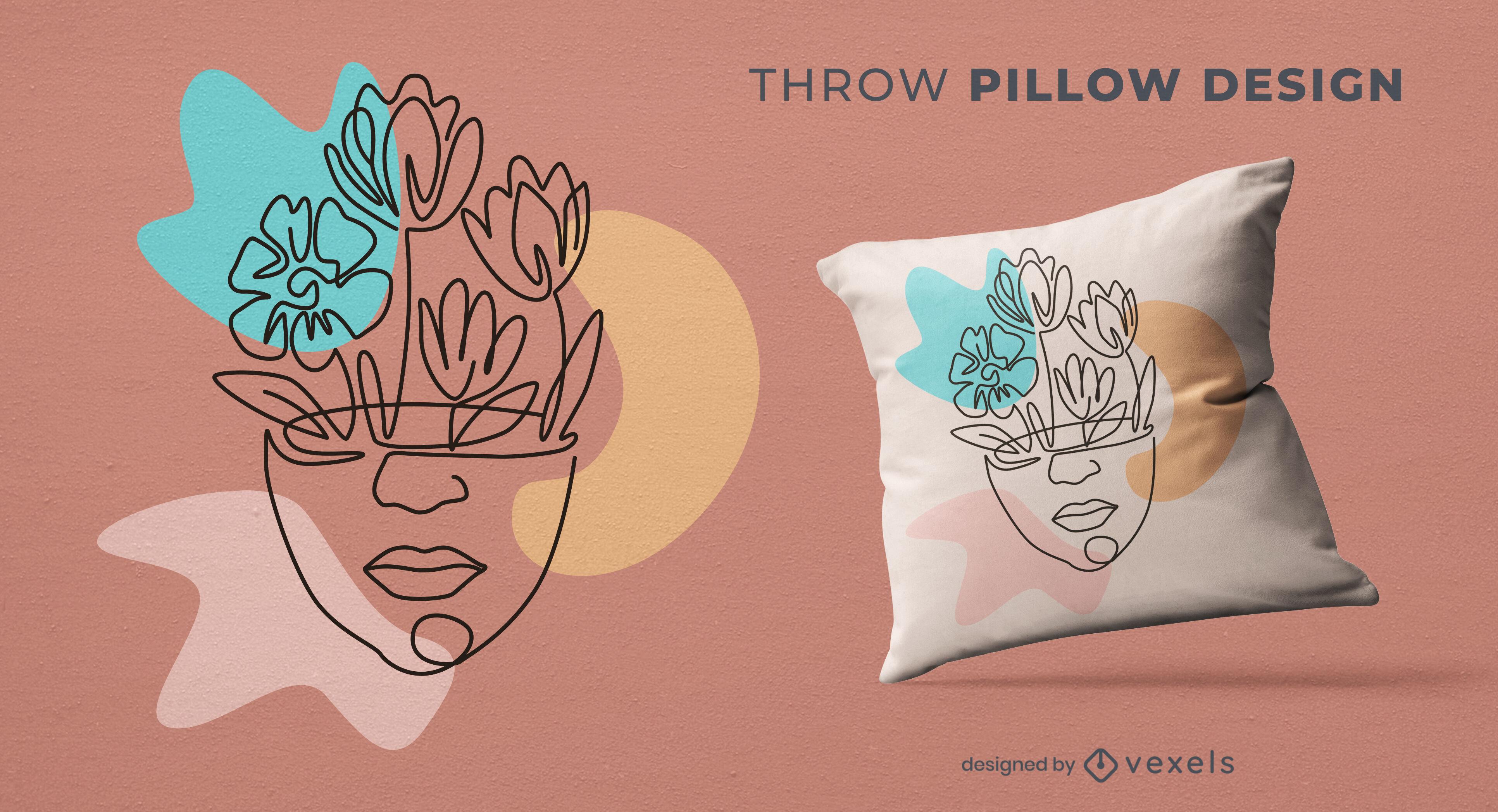 Head flowers nature throw pillow deisgn