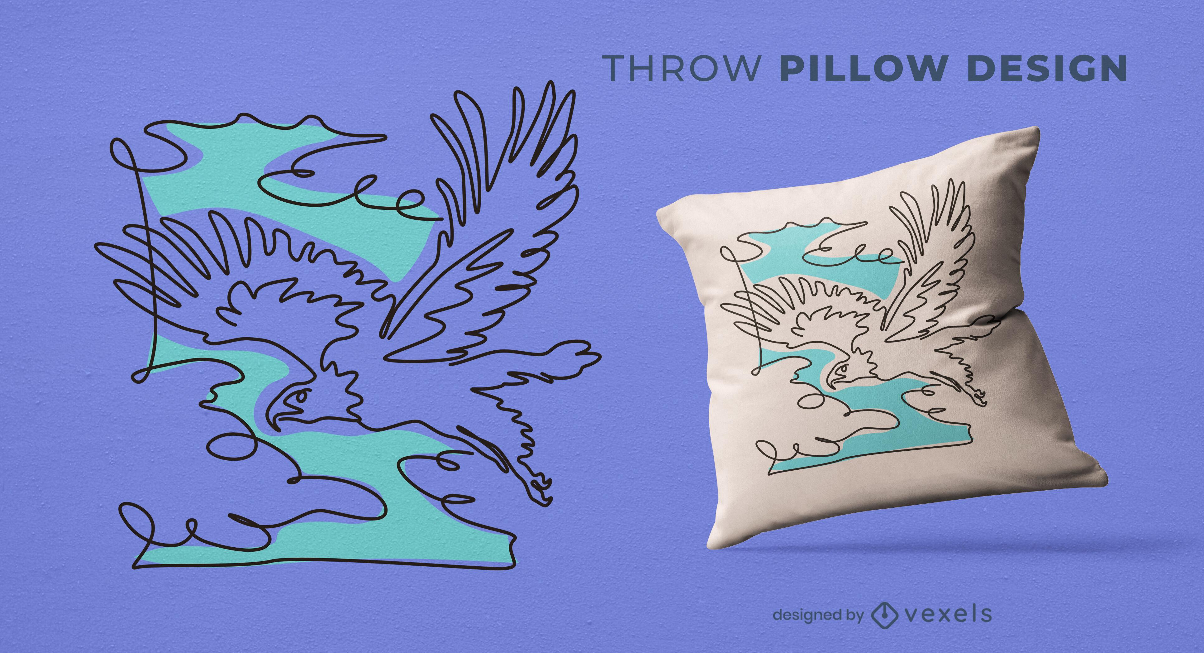 Diseño de almohada de tiro de pájaro águila volando
