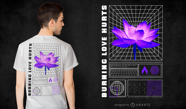 Camiseta flor roxa vaporwave psd