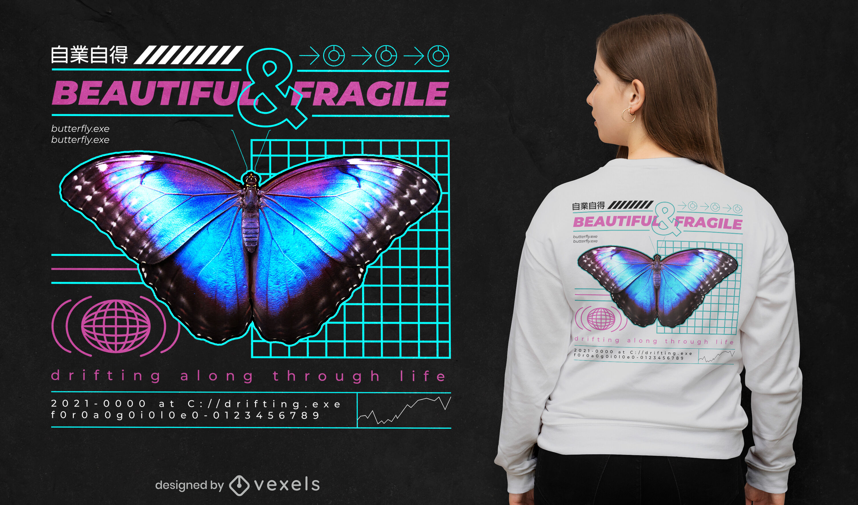 Blue butterfly insect vaporwave t-shirt psd