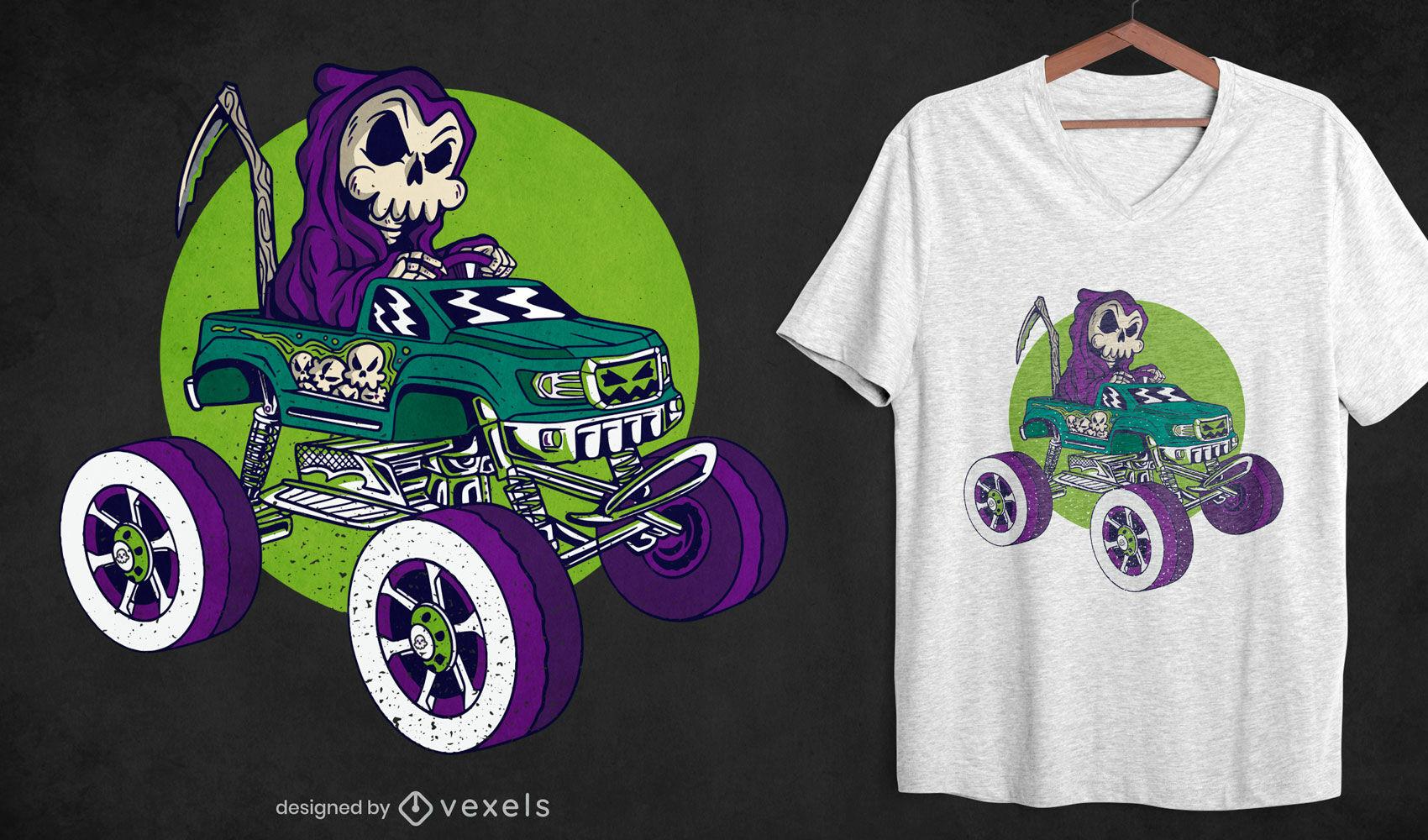 Grim reaper in monster truck t-shirt design