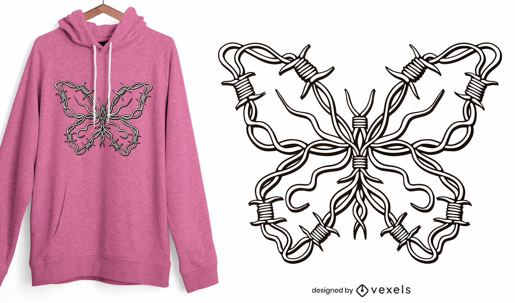 Barbed wire butterfly t-shirt design