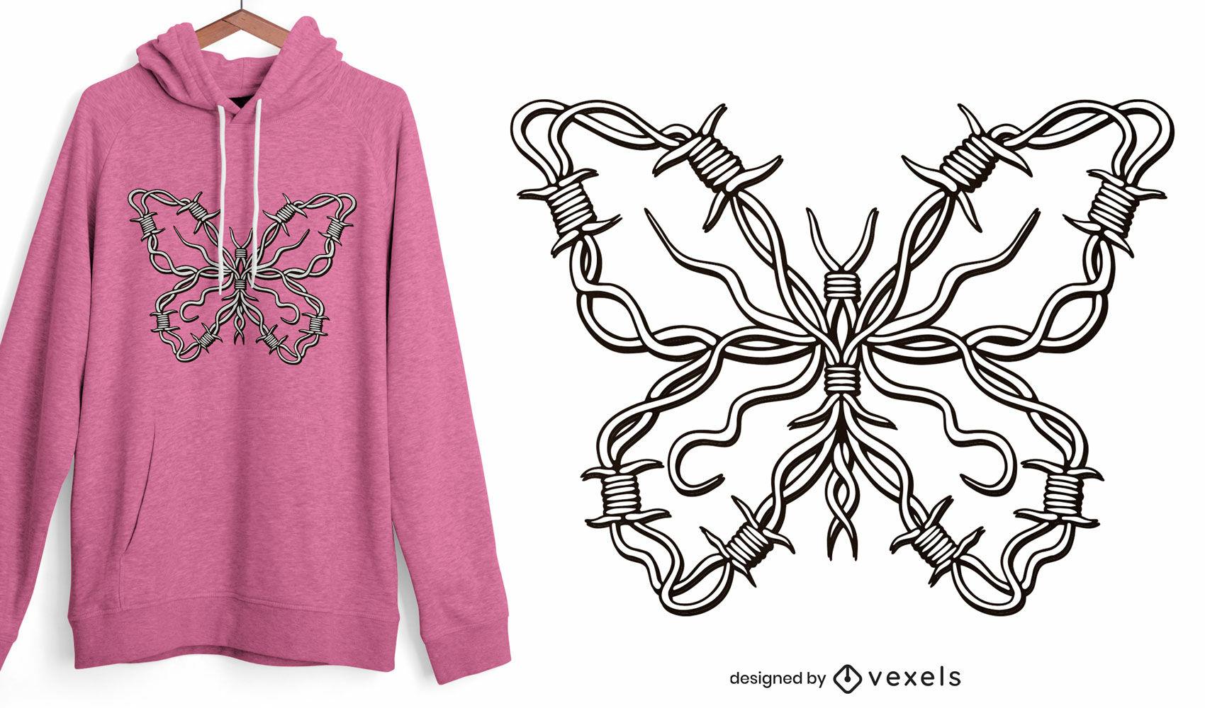 Design de camiseta borboleta de arame farpado