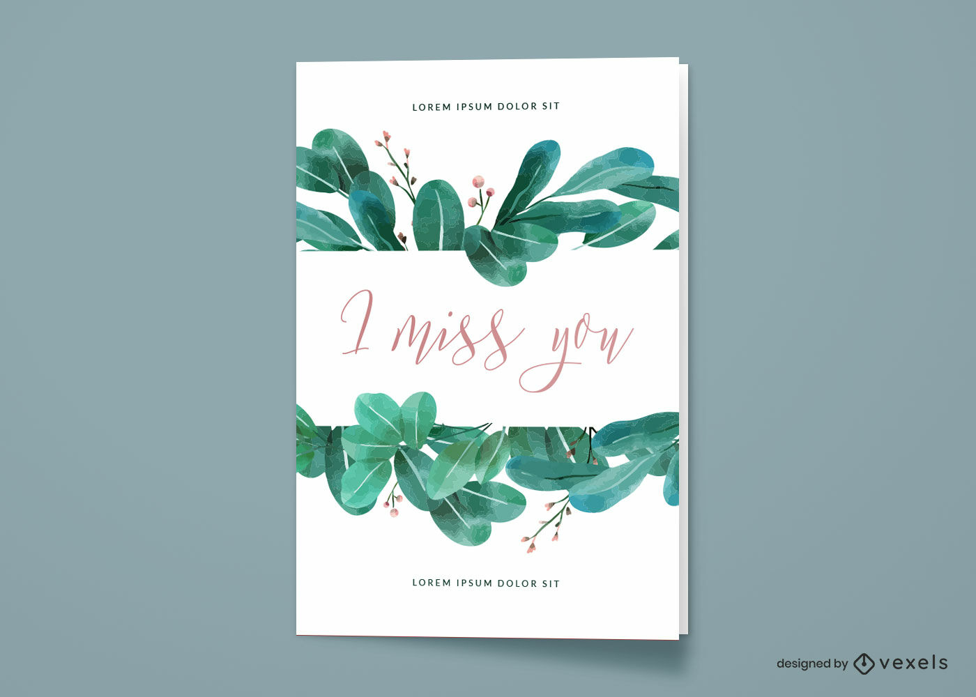 Diseño de tarjeta de felicitación de hojas de acuarela