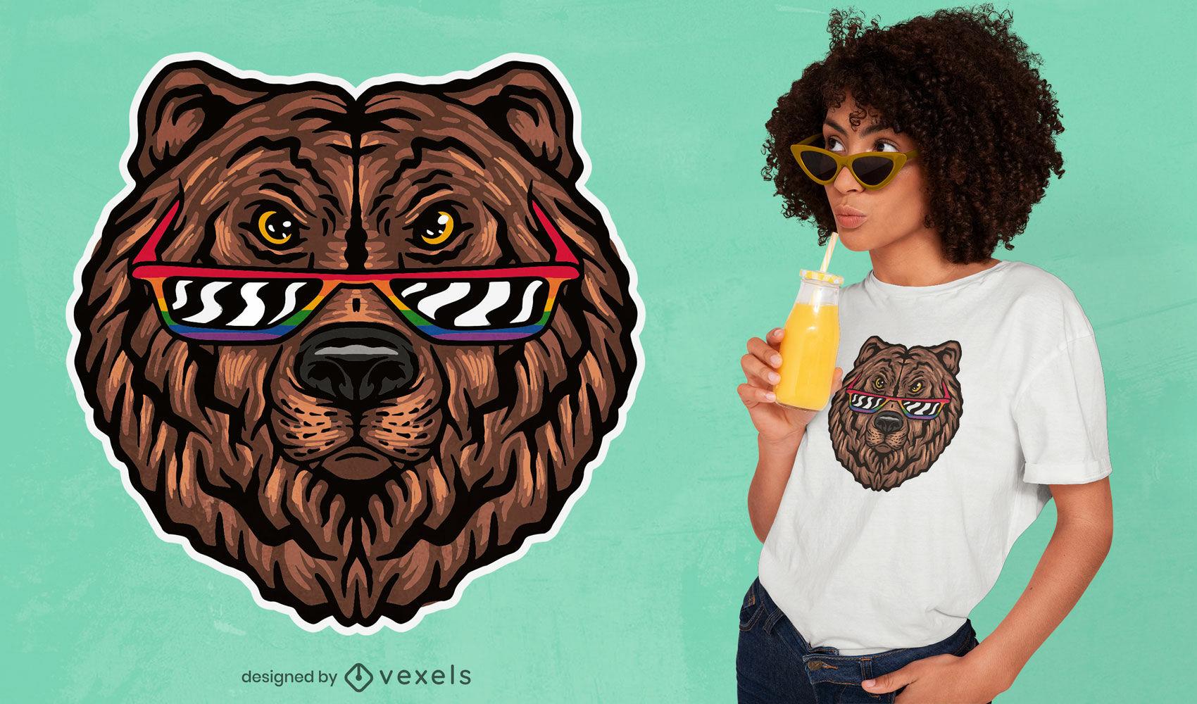 Bear com design de t-shirt de óculos LGBT +