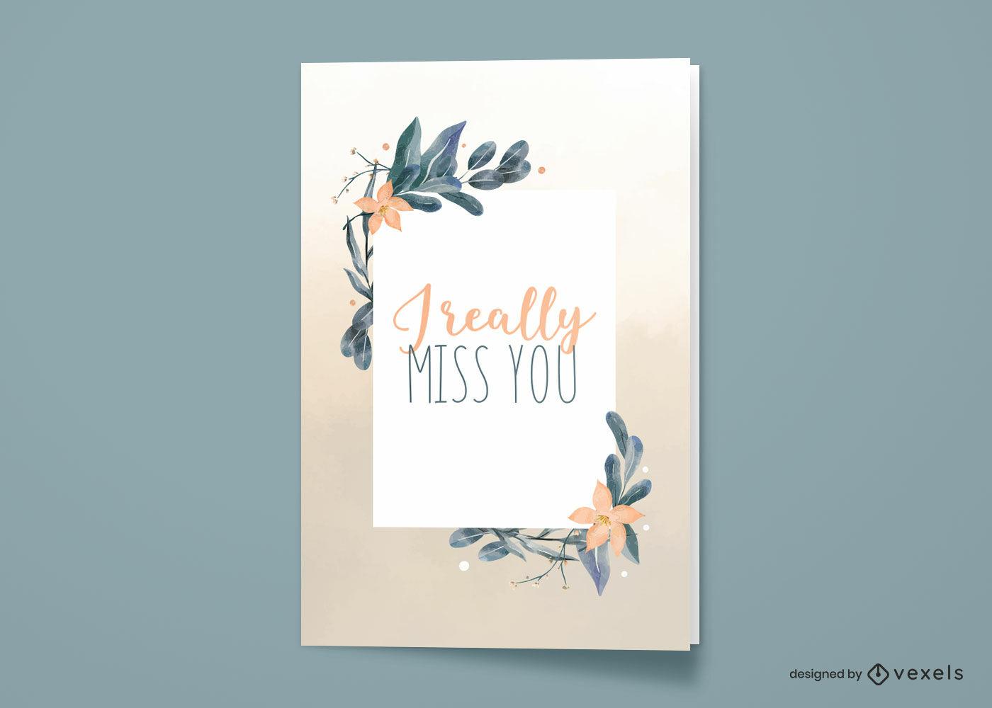 Diseño de tarjeta de felicitación de naturaleza acuarela