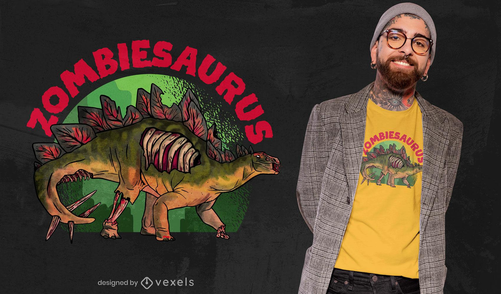 Diseño de camiseta de dinosaurio zombie.