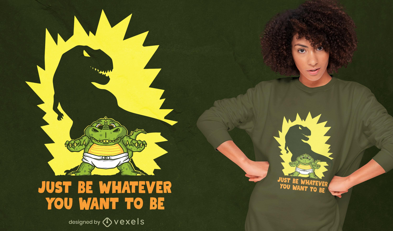Diseño de camiseta motivacional baby t-rex shadow