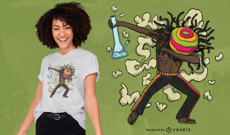 Diseño de camiseta rasta man dabbing