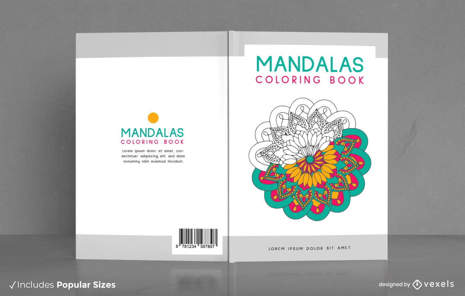 Diseño de portada de libro para colorear mandalas florales