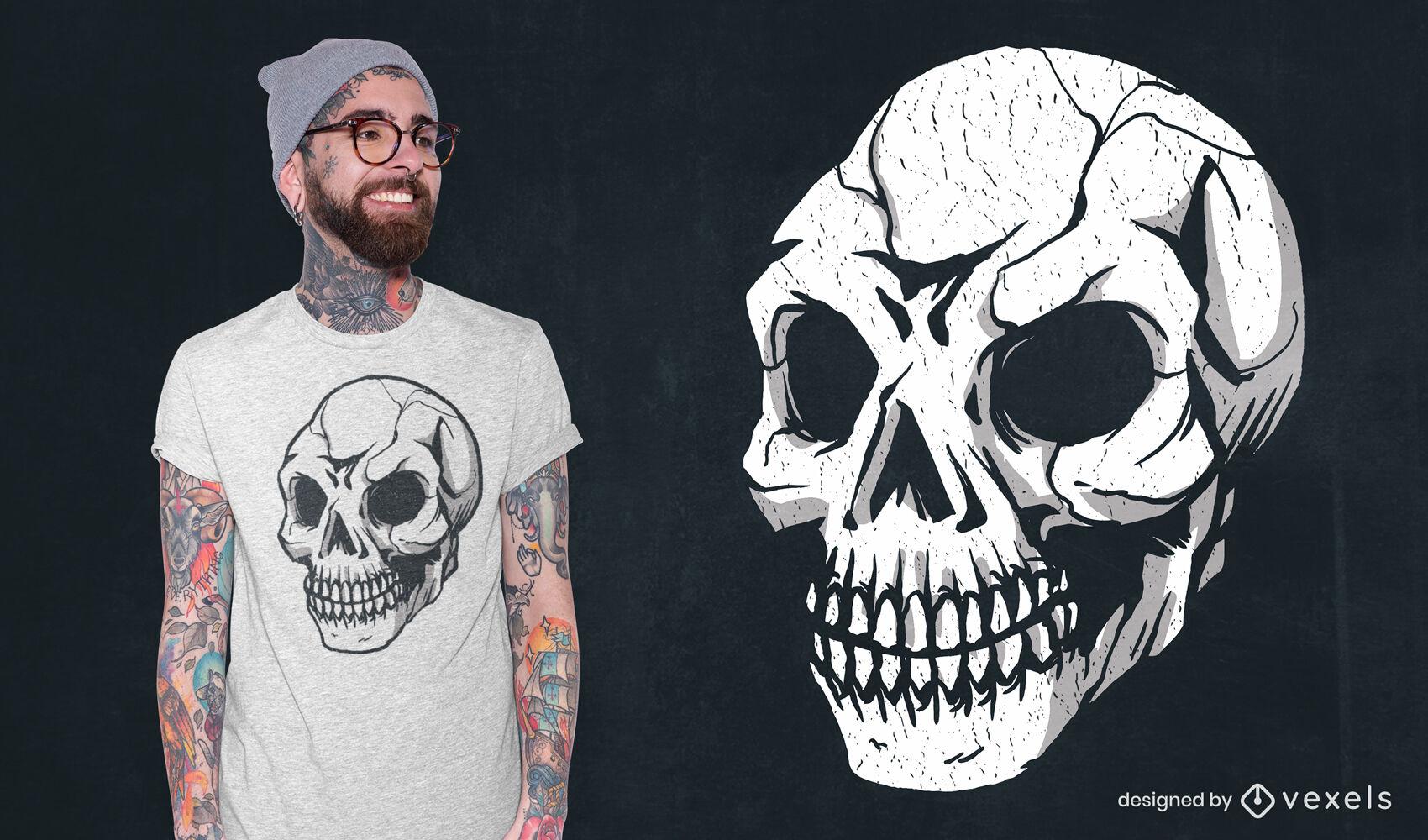 Diseño de camiseta de calavera ligeramente rota de grunge