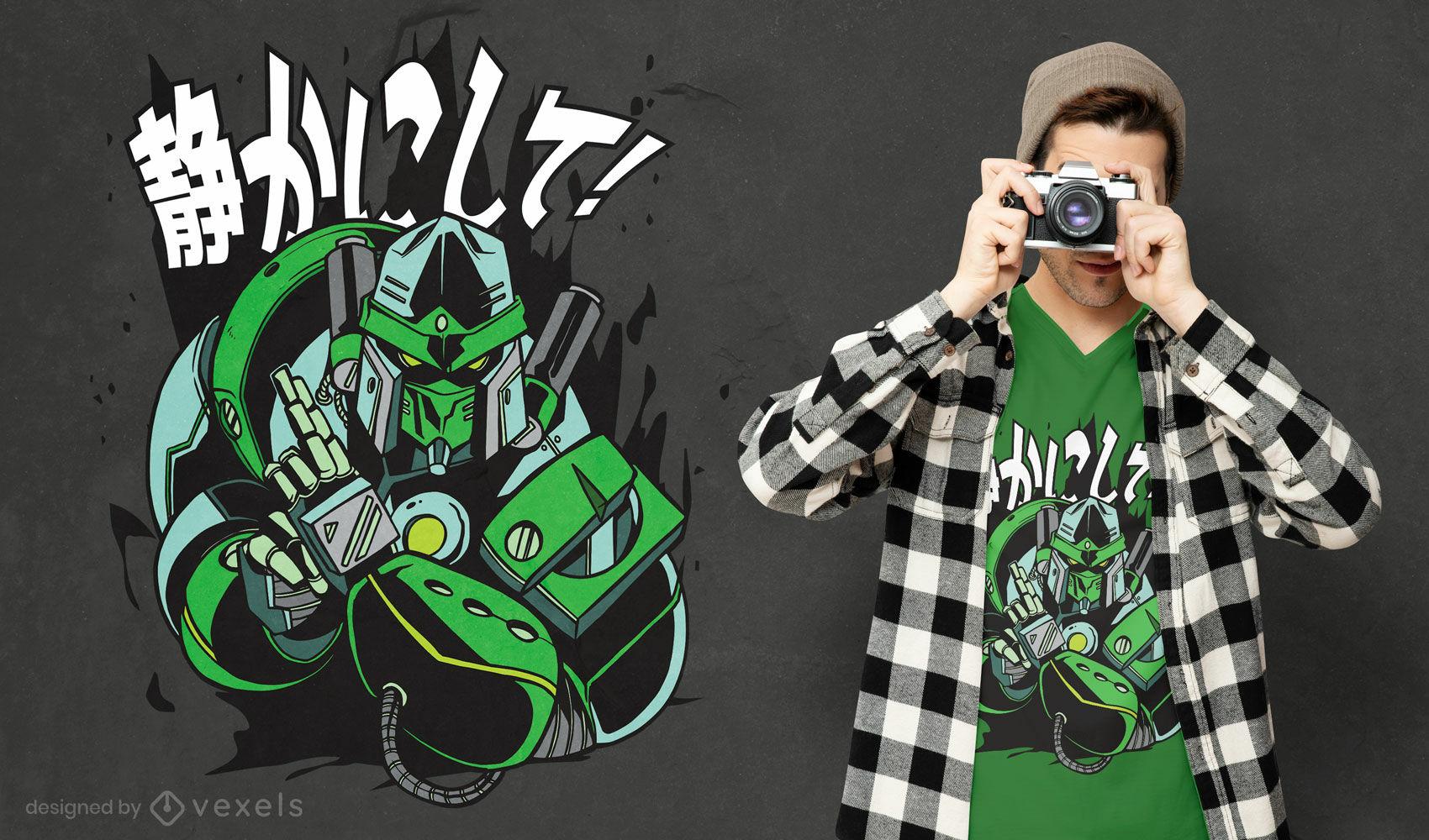 Diseño de camiseta estilo japonés robot ninja