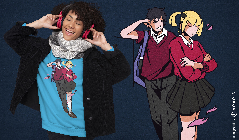 Diseño de camiseta de pareja de anime coqueteando.