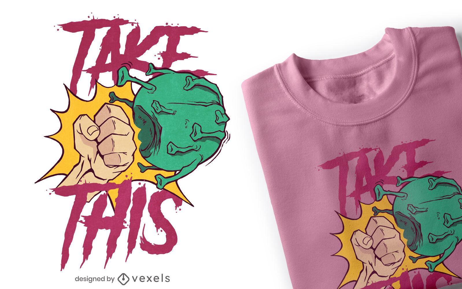 Diseño de camiseta de coronavirus de perforación