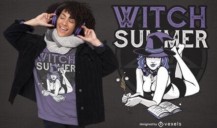 Diseño de camiseta de hechizos mágicos de bruja de verano.