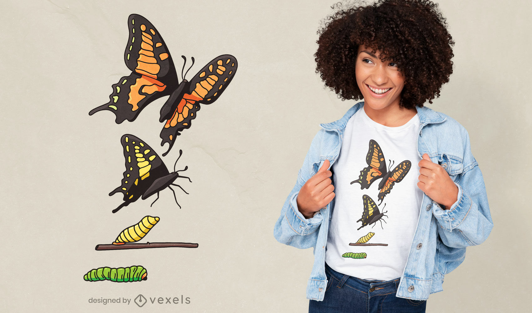 Life cycle butterfly t-shirt design