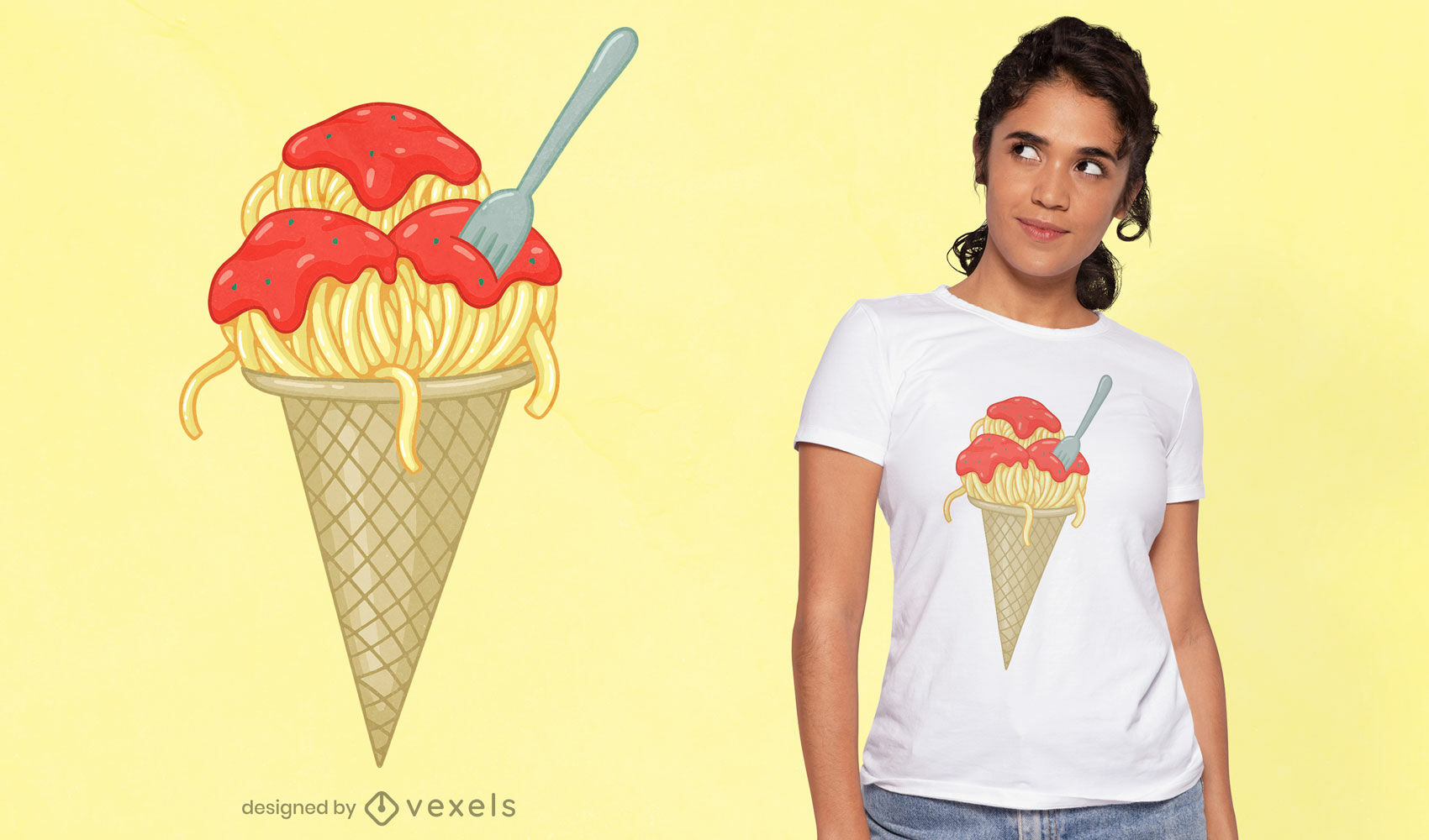 Design de camisetas de sorvete de espaguete