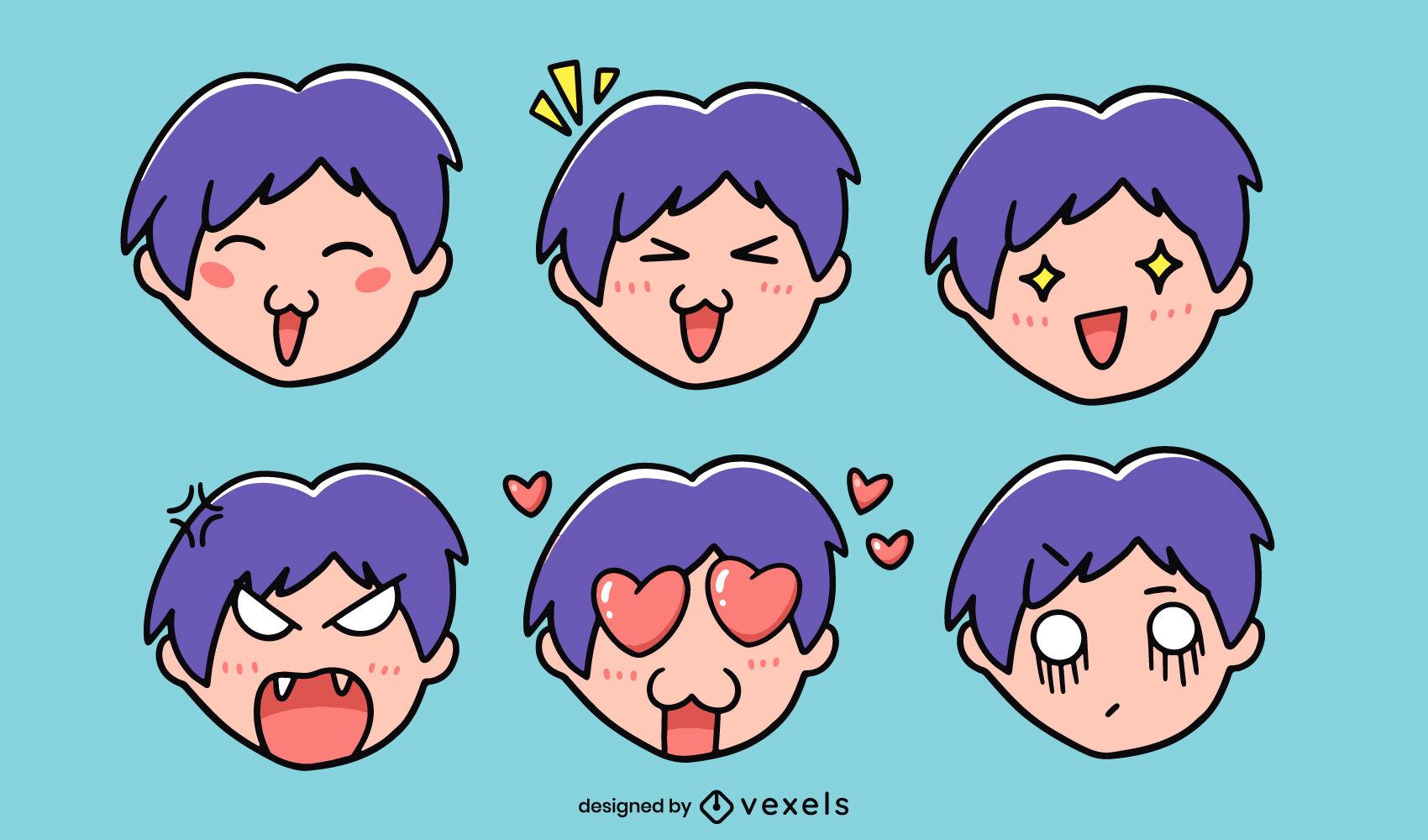 Conjunto de doodle de emociones de chico anime divertido