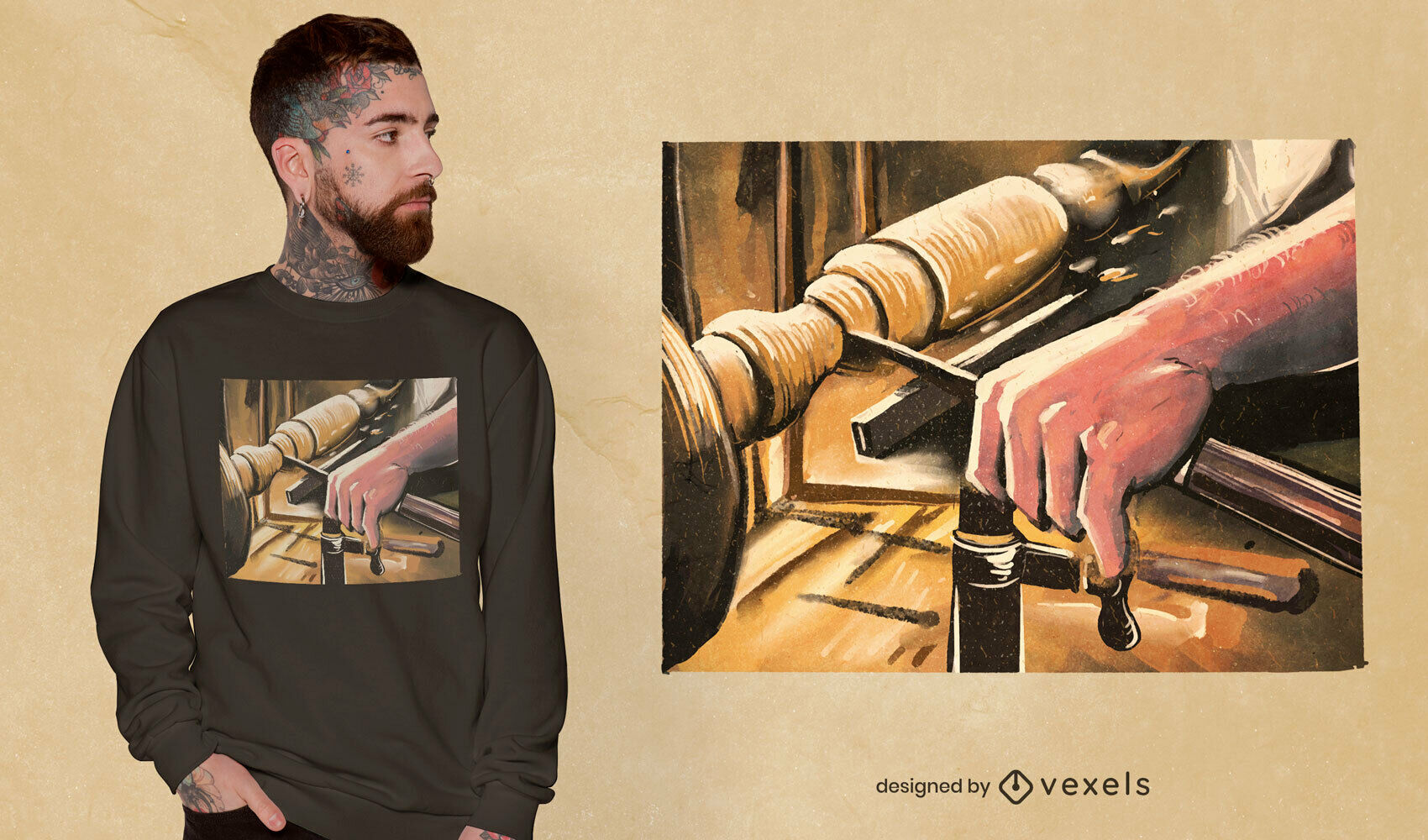Wood turner realistic painting t-shirt psd