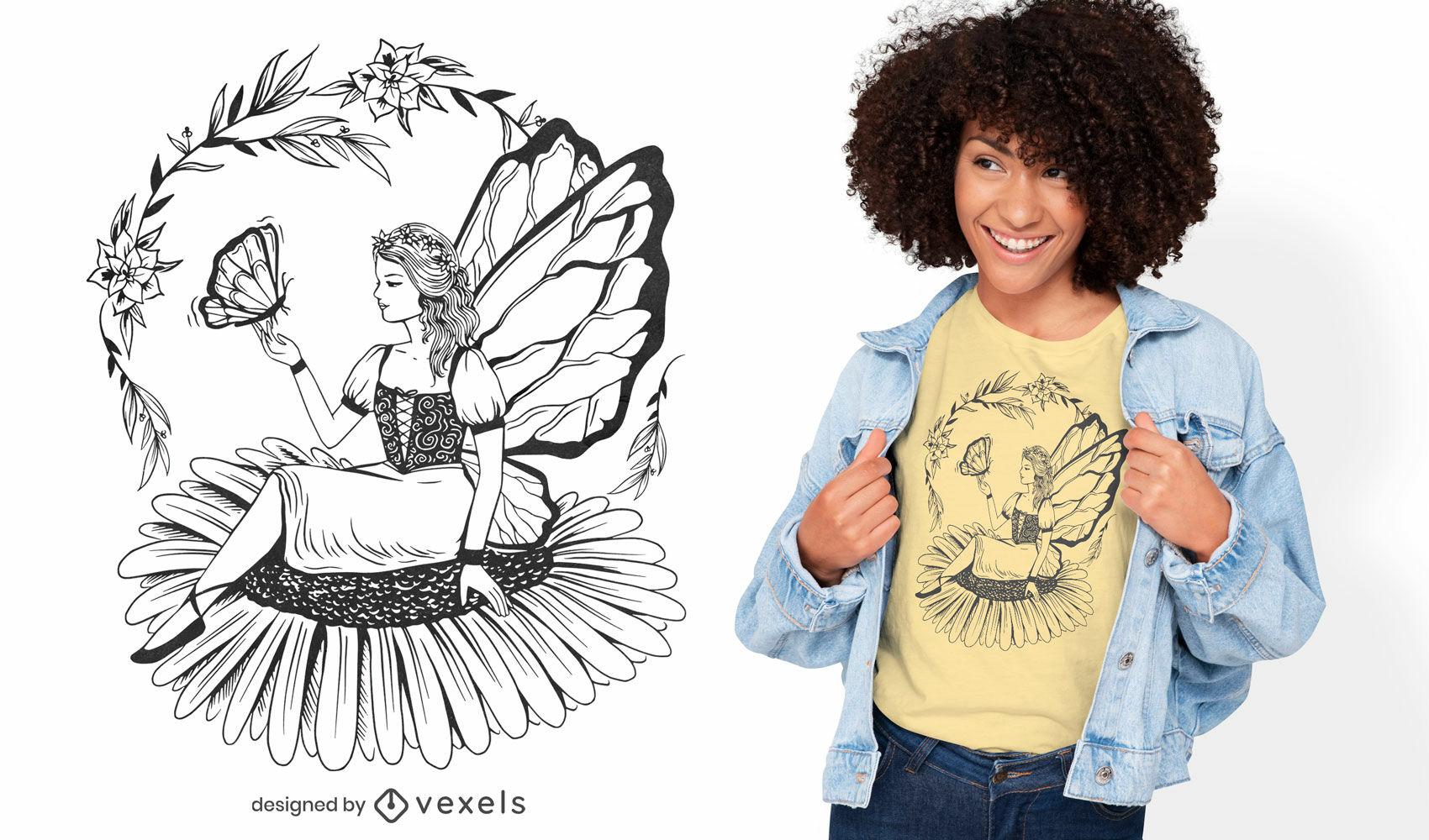 Diseño de camiseta de hada en flor