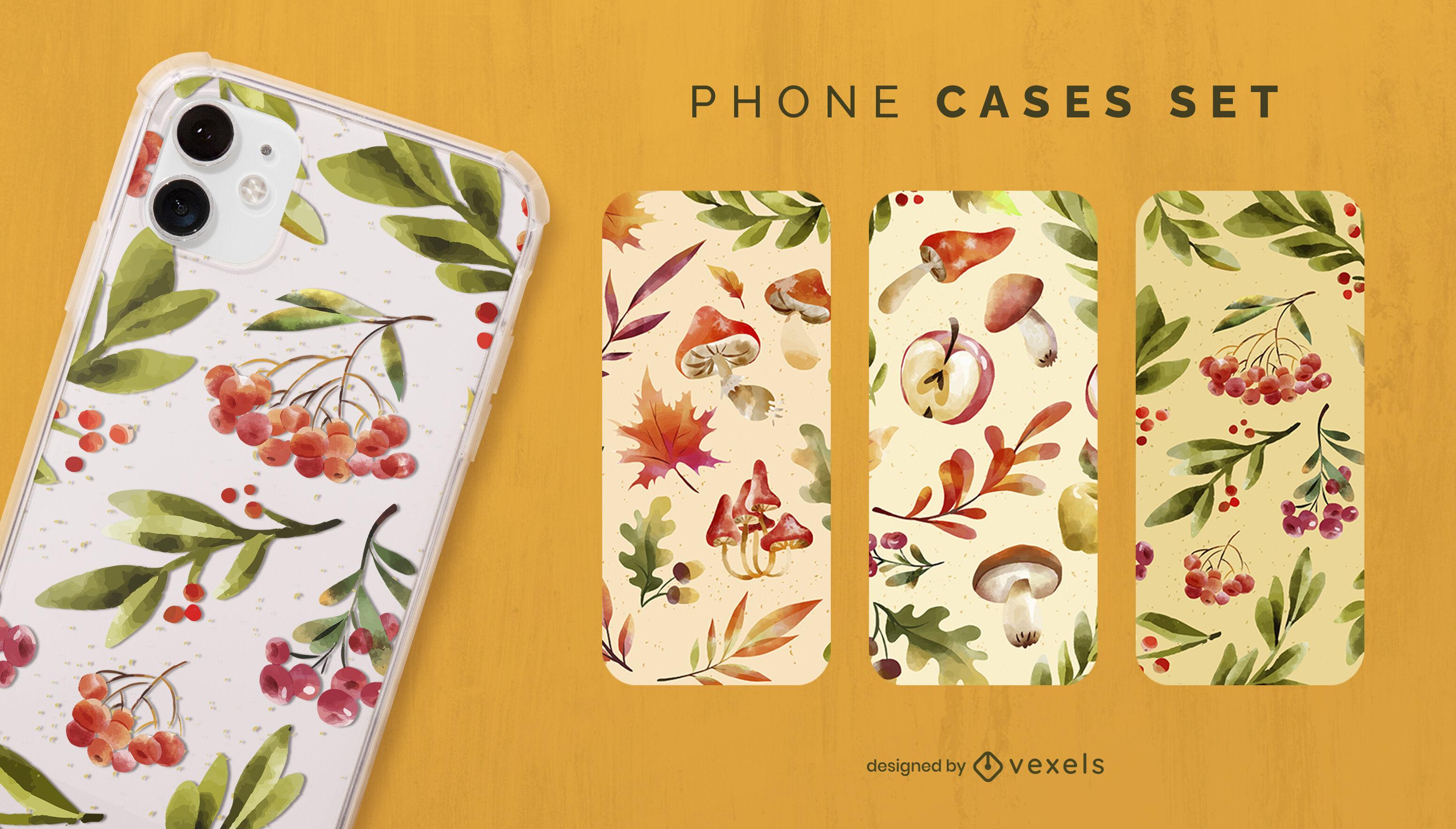 Conjunto de capa de telefone aquarela outono