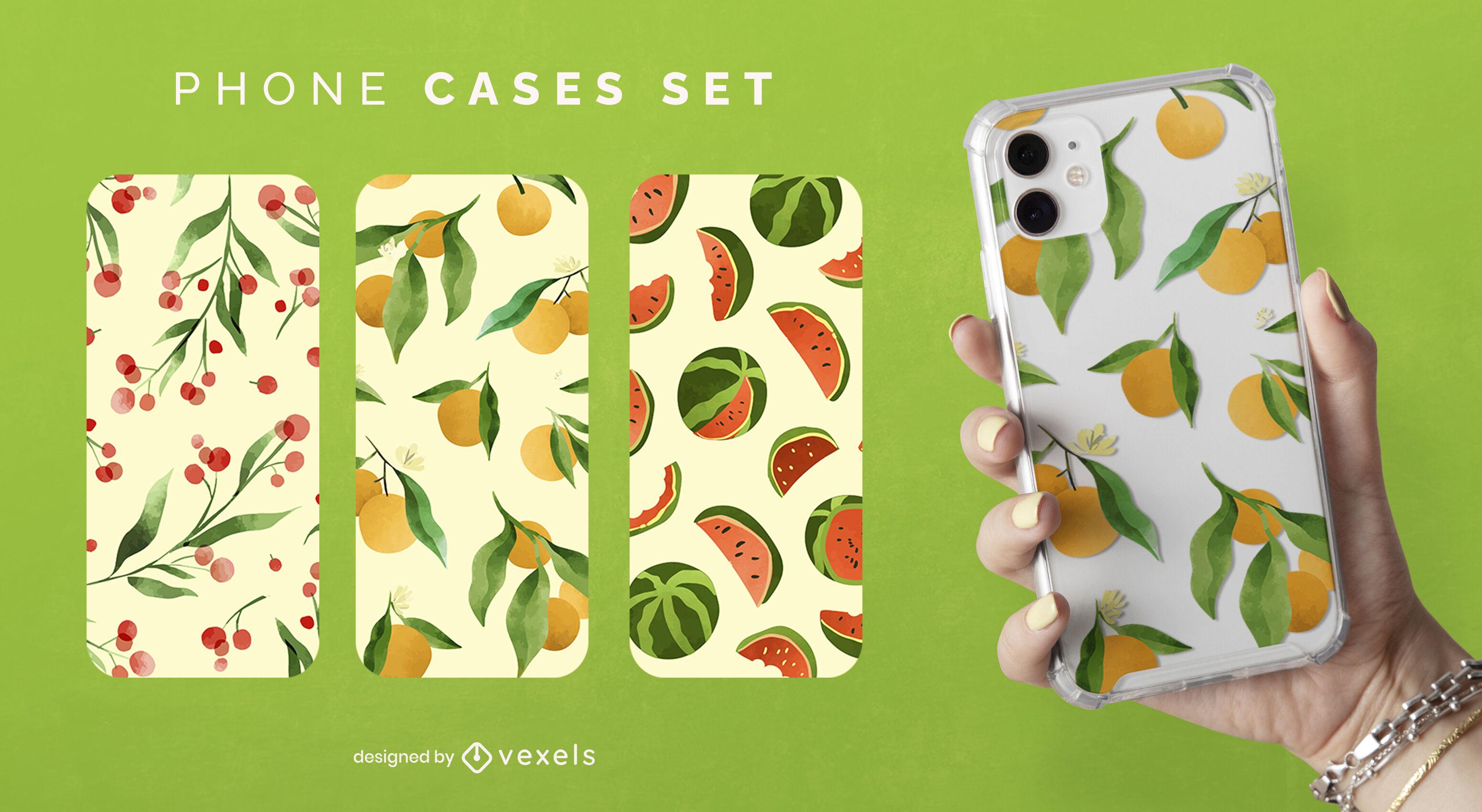Conjunto de diseño de caja de teléfono de frutas y naturaleza.