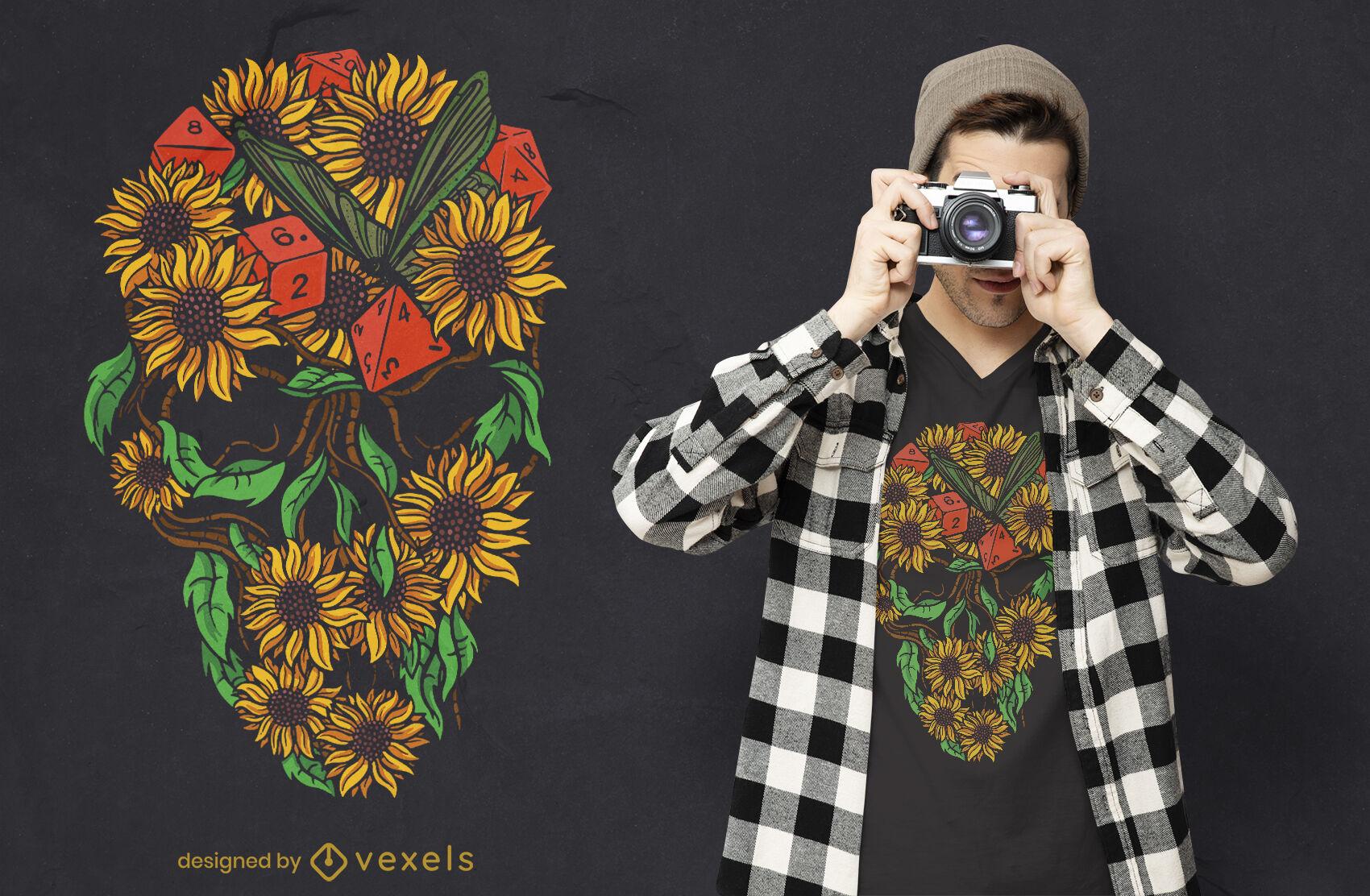 Design de camiseta com caveira girassóis RPG