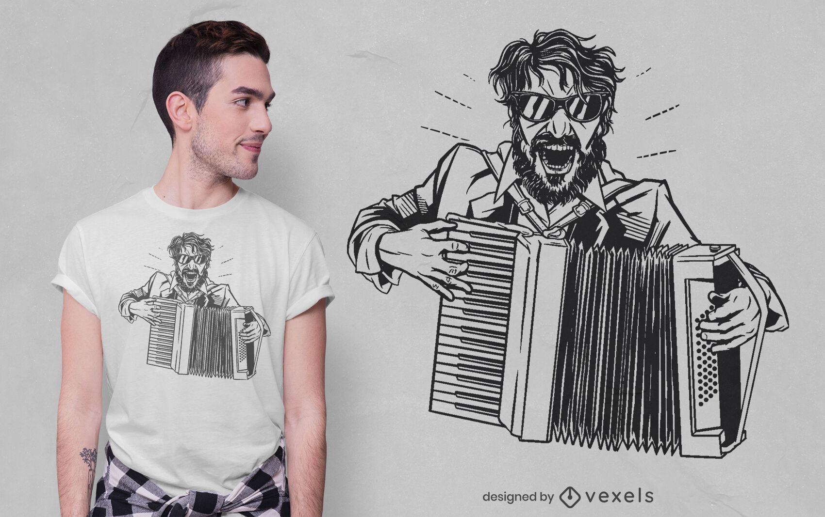 Verrücktes Akkordeonspieler-T-Shirt-Design